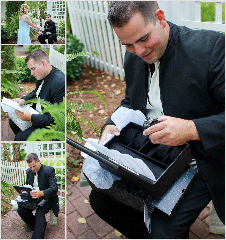 groom receiving gift