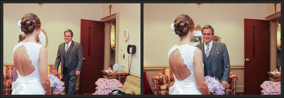 Dad sees daughter for the first time as a bride.