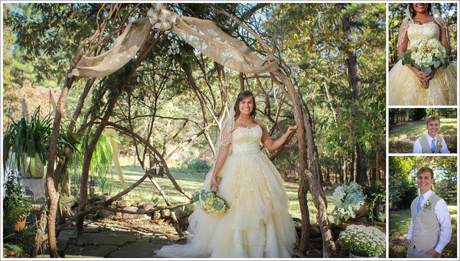Bridal portraits under a DIY arbor
