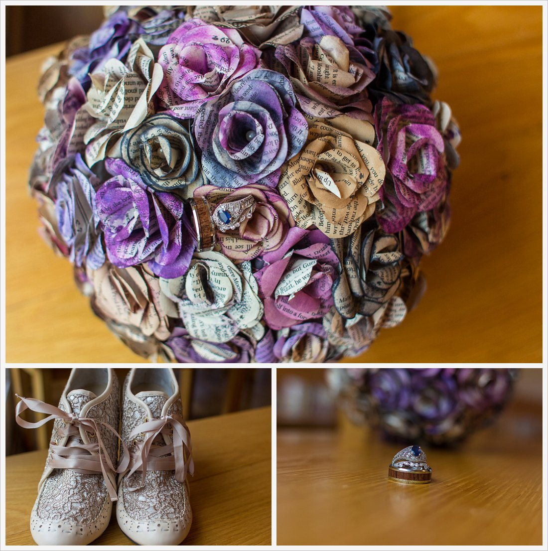 bouquet made out of pages from a book