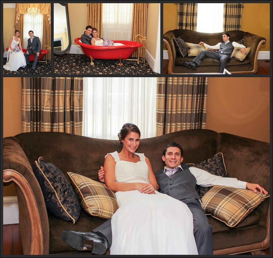 bride and groom pose on the Primrose Cottage sofa