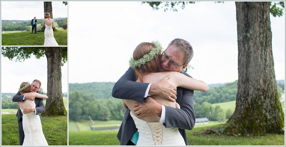 Daddy sees bride for first time